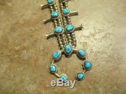 FINE Vintage Navajo Sterling Silver KINGMAN Turquoise SQUASH BLOSSOM Necklace