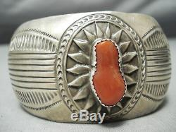 Fabulous Vintage Navajo Coral Sterling Silver Bracelet Old