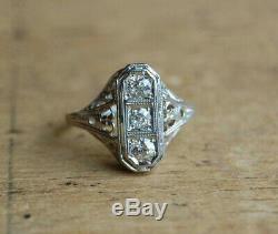 Filigree Vintage Art Deco Engagement Wedding Ring 2 Ct Diamond 14k White Gold Fn