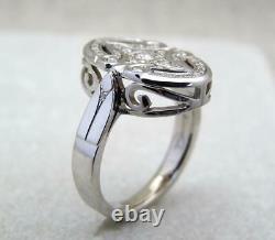 Fine Art Deco Vintage & Antique Wedding Ring 1.50 Ct Diamond 14k White Gold Over