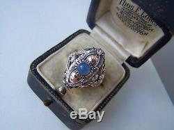Gorgeous Vintage Solid Sterling Silver Blue Chalcedony Locket Poison Ring Size Q
