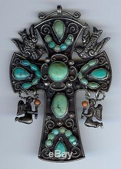 Gustavo Martinez Vintage Mexico Sterling Turquoise Dangle Angels Cross Pendant