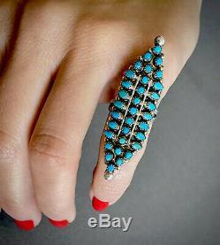 HUGE LONG Vintage Zuni Native American Sterling Silver Turquoise Cluster Ring