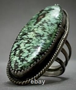HUGE Vintage Navajo Sterling Silver Green Spiderweb Matrix Turquoise Ring WOW