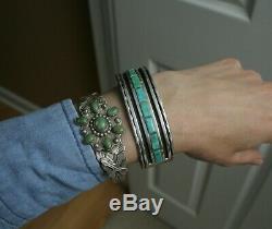 Heavy Vintage Native American Zuni Turquoise Sterling Silver Cuff Bracelet