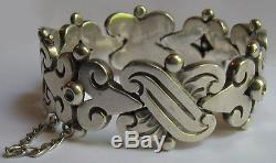Hector Aguilar Vintage Mexico Weighty Sterling Silver Fertility Bracelet