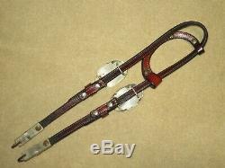 High End VINTAGE 1-Ear Western DIABLO STERLING SILVER Headstall Bridle BIT CLIPS