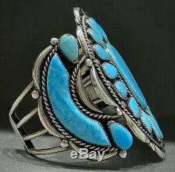 LARGE Vintage Navajo Sterling Silver Turquoise Cluster Cuff Bracelet