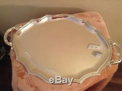 Large Vintage 22 1\4 Sterling Silver Tea/serving Tray With Handles. Excellent