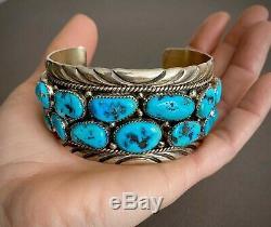 Large Vintage Navajo Sterling Silver Kingman Turquoise Cuff Bracelet 7.5 Wrist