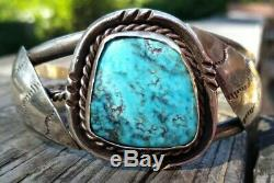 Large Vintage Navajo Sterling Silver TURQUOISE Cuff Bracelet 42.2 Grams