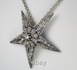 Lovely Antique Victorian Gold Silver Diamond Floral Starburst Pendant Necklace