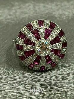 Magnificent Circa Vintage Retro Engagement Ring 14k White Gold Over 1 Ct Diamond