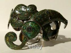 Margot De Taxco Mexico Vintage Sterling Green Enamel Fish Bracelet Necklace Set