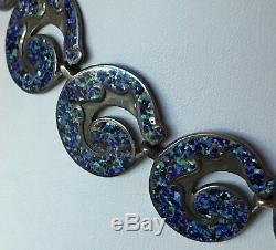 Margot De Taxco Vintage Mexico Sterling Speckled Blue Enamel Choker Necklace