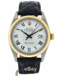 Mens Rolex Datejust 14K Gold Stainless Steel Watch White Black Roman Dial 16013