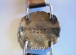 Native American Vintage Old Pawn Navajo Sterling Silver Turquoise Link Bracelet