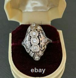 Navette Shaped Open Filigree Vintage Engagement Ring 2.3Ct Diamond 14K Gold Over