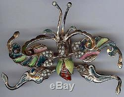 Nettie Rosenstein Vintage Sterling Silver Enamel Rhinestone Butterfly Fur Clip