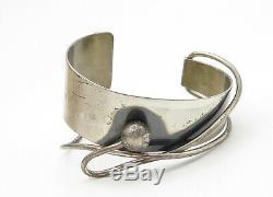 ORB 925 Sterling Silver Vintage Modernist Designed Cuff Bracelet B6499