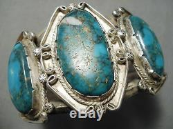 One Of The Best Vintage Navajo Old Morenci Turquoise Sterling Silver Bracelet