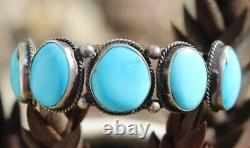 PHENOMENAL vintage turquoise cuff bracelet FRED HARVEY ERA Southwestern sterling