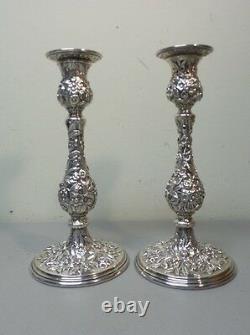 Pair Vintage Kirk REPOUSSE Sterling Silver 9.75 Candlesticks, 850 grams