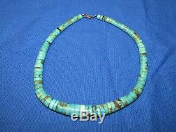 Rare- Vintage Navajo Royston Turquoise Heishi Disc Necklace Old Pawn Silver