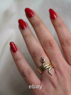 Red Ruby & Diamond Women's Cocktail Vintage Snake-coil Ring 14k Yellow Gold Over