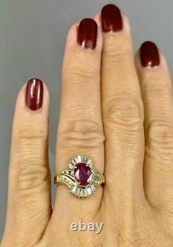 Ruby Baguette Round Diamond Halo Swirl Cluster Vintage Ring 14K Yellow Gold Over