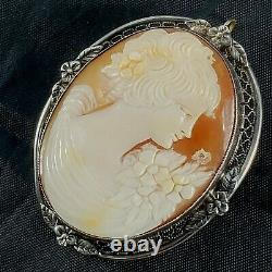 STERLING SILVER Carved LADY CAMEO Vintage ESTATE Pin/Pendant/Brooch GIRL 10.6g