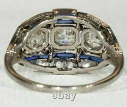 Sapphire Ring 3.54 Ct Diamond Vintage Art Deco Wedding Ring 14K White Gold Over