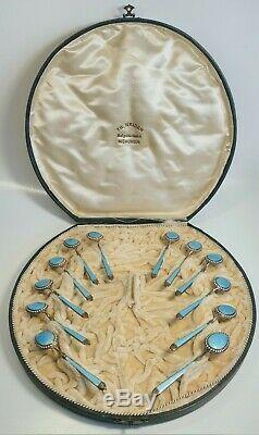 Set of 12 Vintage Enamel and Jeweled Sterling Silver Demitasse Spoons