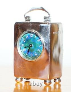 Sterling Silver Enamel Liberty's London Archibald Knox Miniature Carriage Clock