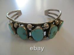 Sterling Silver Vintage Navajo Cuff Bracelet Tribal Art Sculpture Turquoise