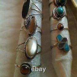 Sterling Silver Vtg Ring Lot Black Onyx Cat Eye Turquoise No Scrap Native sz6 8