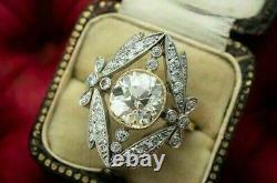 Stunning Vintage Art Deco Wedding Ring 14K White Gold Over 2.51 Ct Diamond Ring