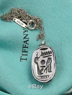 TIFFANY & CO Rare Elegant Vintage SCARAB Heiroglyphics Sterling Silver Necklace