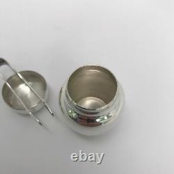 Tiffany & Co. Sterling Silver Sugar Jar / Pill Box With Tongs Vintage
