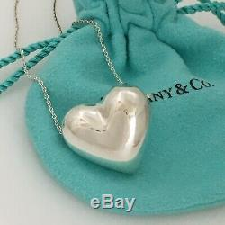 Tiffany & Co Vintage Sterling Silver Slider Puffed Full 3D Heart Chain Necklace