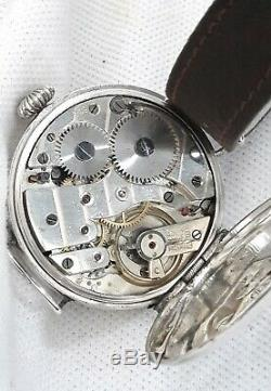 Trench watch Vintage Silver Gents Officers Wristwatch 15J FULL WORK ORDER 1918