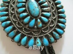 Turquoise Vintage Navajo Modernist Sculpture Sterling Silver Bolo Tie Giant Neal