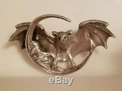 UNGER BROTHERS- Bat with Man and the Moon Brooch/Ruby Eyes
