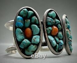 UNIQUE Large Vintage Navajo Sterling Silver Turquoise Coral Cuff Bracelet