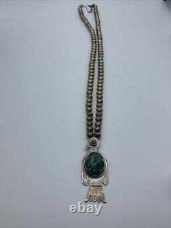 VINTAGE 1960s NAVAJO THUNDERBIRD INLAID TURQUOISE SILVER BEADED NECKLACE