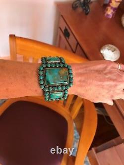 VINTAGE NAVAJO KIRK SMITH BRACELET Turquoise Cluster Sterling Silver