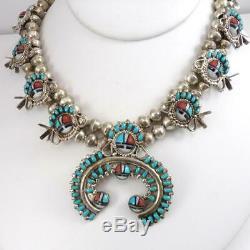 VTG Sterling Silver Squash Blossom Zuni Sunface Turquoise Necklace 28 LFL4