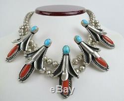 VTG squash blossom choker Bobby Apachito sterling silver coral turquoise necklac