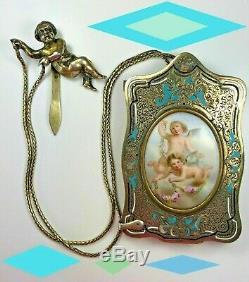 Victorian Antique STERLING SILVER Gold Dance Card Chatelaine Cherub AIDE MEMOIRE