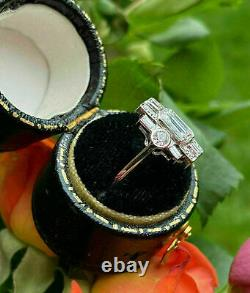 Victorian Edwardian Antique Engagement Ring 2.44 Ct Diamond 14K White Gold Over